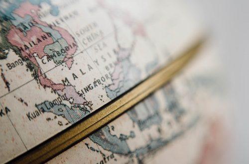 Globe focused on Malaysia with Singapore and Kuala Lumpur